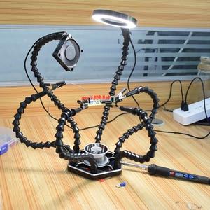Image 5 - أدوات متعددة محطة لحام مساعدة اليد الثالثة 3X USB عدسة LED مكبرة الزجاج مصباح مروحة يو إس بي لأداة محطة لحام PCB