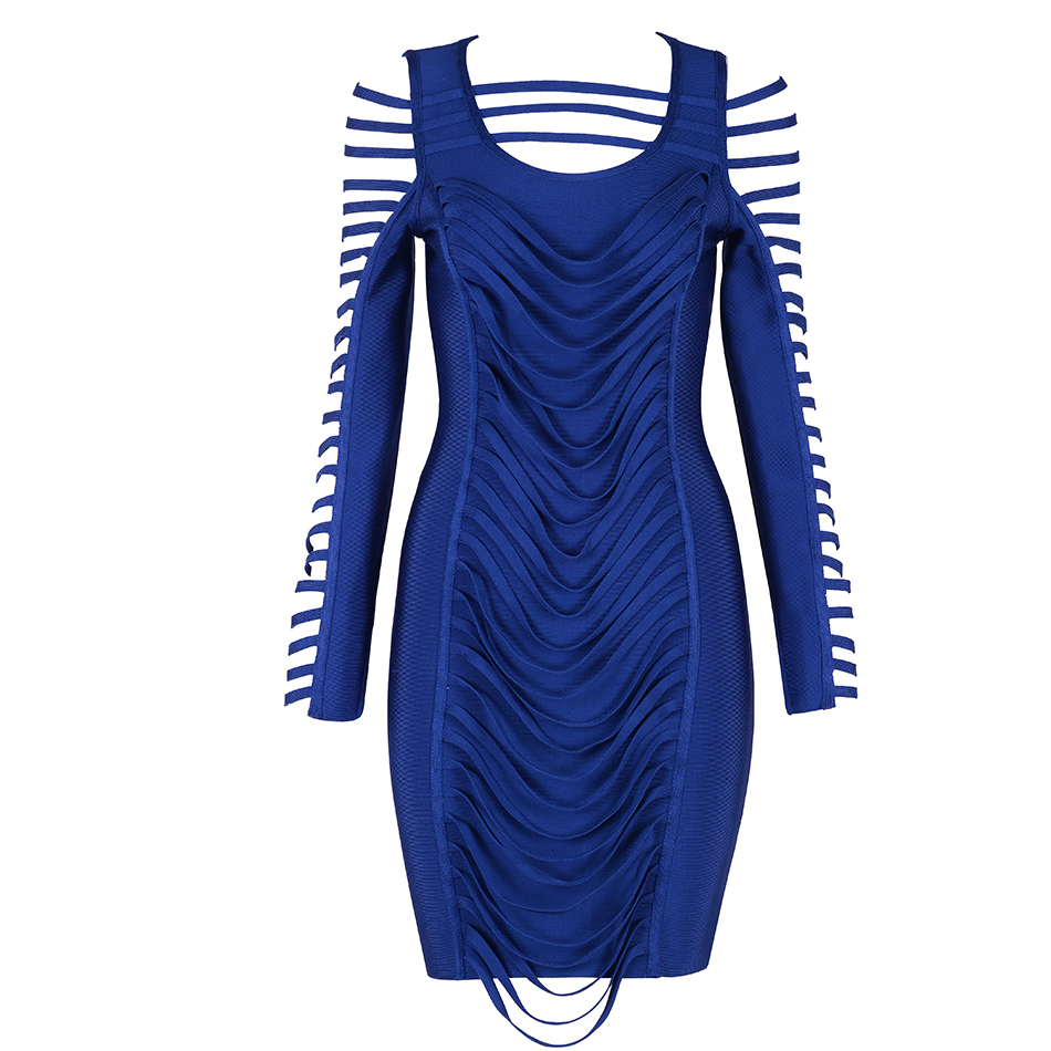 Celebrity Robes Seamyla Clubwear Bandage Mode Sexy Robe À Bleu 2018 Longues Moulante Cut Manches Party Femmes Out wgxRSZwq