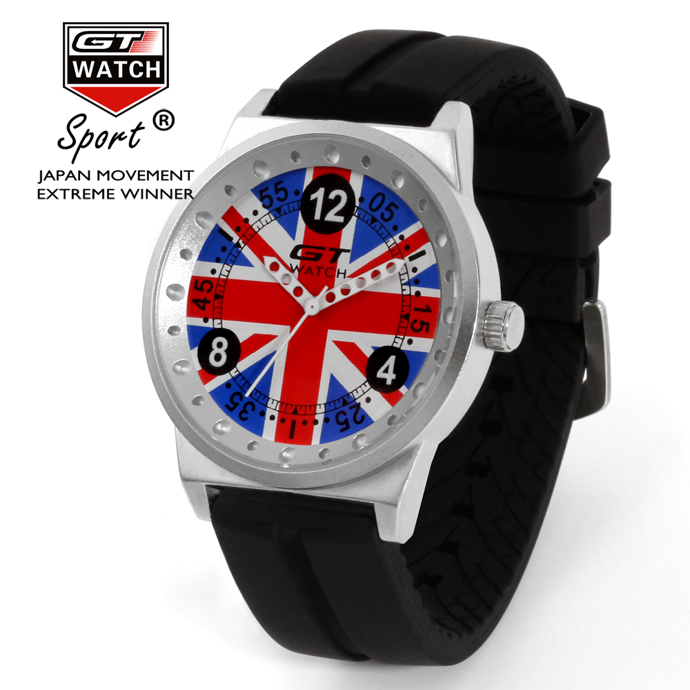 GT Watch United Kingdom Flag F1 Sport Watch Men Fashion Casual Silicone Strap Quartz Wristwatches Hour montre homme reloj hombre flag of the united kingdom large 1 5 meter size