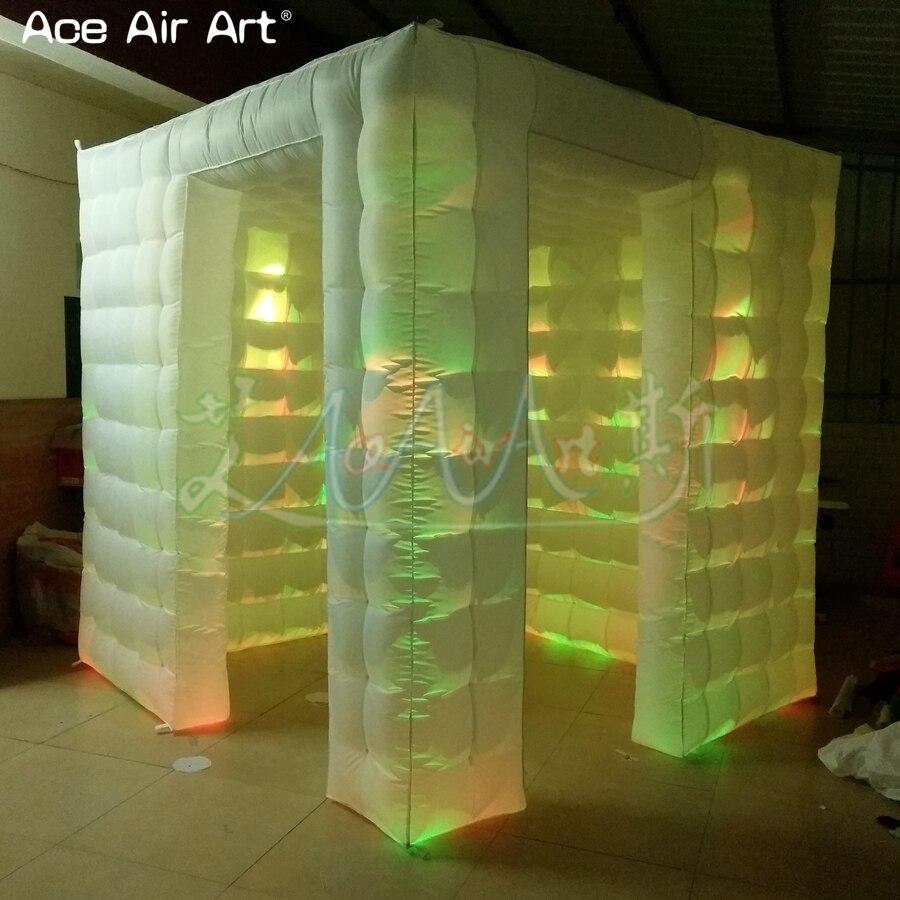 Boîtier gonflable de cabine de photo de cube de 2.4 m led, coffret de partie de photo avec des projecteurs à vendre