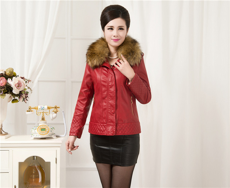 Fur Leather Coat font b Women b font Leather Jacket Long Slim Ladies Jackets Coats Outerwear