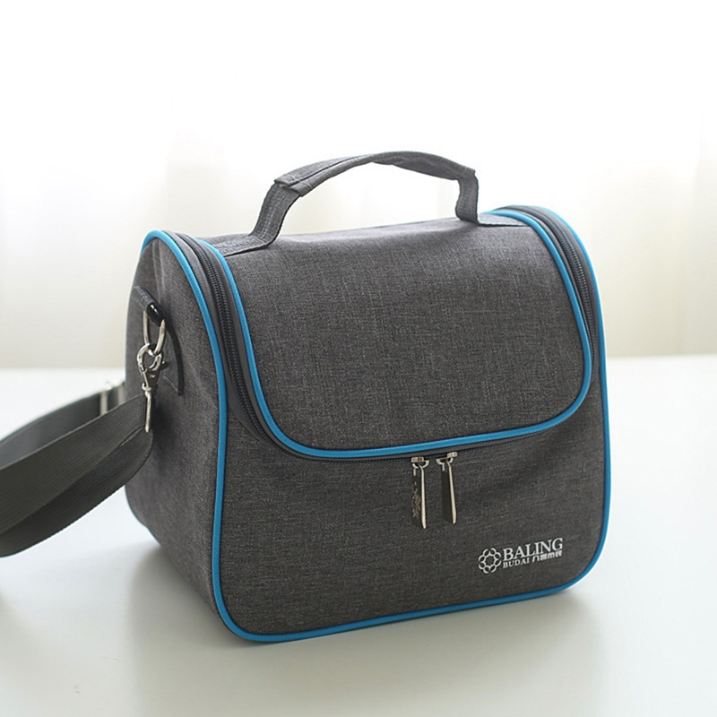 Dark Grey Oxford Cloth Picnic Bag Portable Shoulder Bag Handbag Kids School Lunch Pouch Outdoor Insulated Drink Food Container