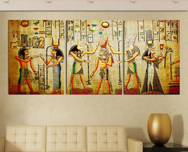 2017 3 Pcs Unframed Wall Paint Picture Retro Culture Egyptian Mural ...