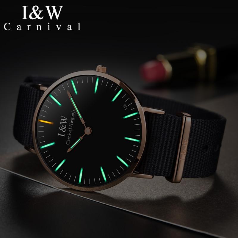 CARNIVAL Tritium Luminous Quartz Men Watch Thin Dial CanvasStrap Fashion Montre Homme TopBrand luxury Sapphire relogio masculino