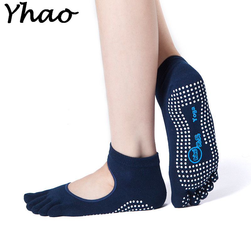 Yhao Women Cotton Yoga Socks Five Toe Backless Anti-Slip Quick-Dry Ankle Grip Pilates Fitn