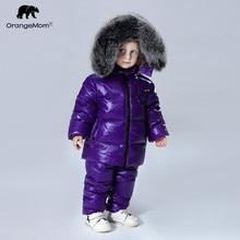 2019 kurtka zimowa płaszcz + spodnie 2 sztuk/zestawów odzież dziecięca 1 12Y koreański odzież dziecięca odzież wierzchnia dla chłopców i dziewcząt duża, futrzana