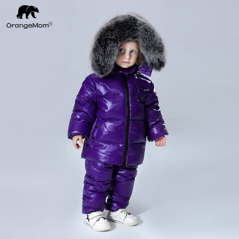 2019 winter jacket coat +pants 2 pcs/sets children clothing 1 12Y korean kids clothes boys girls outerwear big fur-in Down & Parkas from Mother & Kids