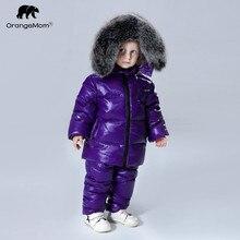2019 winter jacket coat +pants 2 pcs/sets children clothing 1 12Y korean kids clothes boys girls outerwear big fur