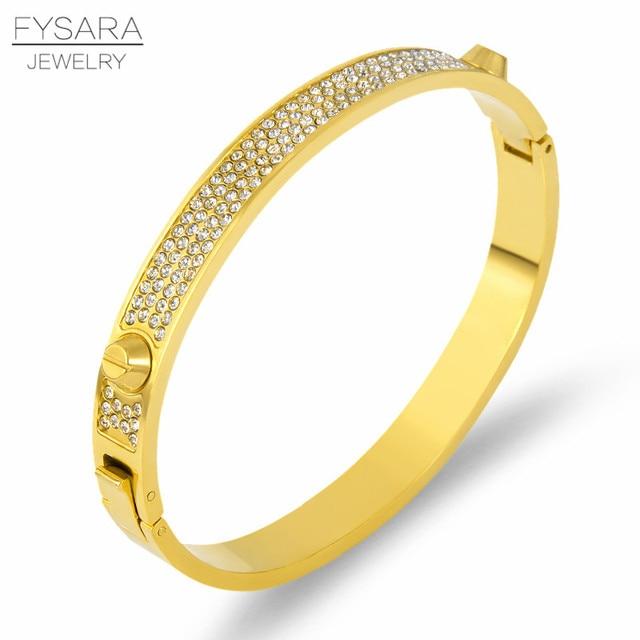 d4f6d06cda9 FYSARA Luxury Brand Full Crystals Bangle Titanium Steel Gold Rivet Screw  Bangles & Bracelets For Women Men Lover Nail Pulseiras