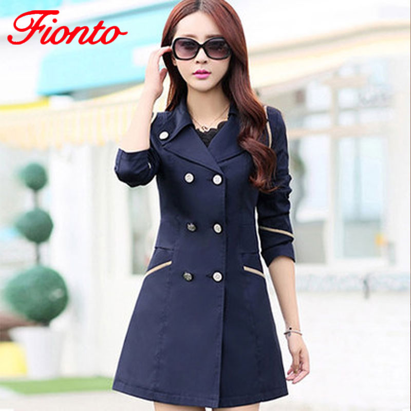 FIONTO   Trench   Coat Women 2018 Turn Down Collar Casual   Trench   Coat Female Solid Long Slim Double Breasted Coats A034-1