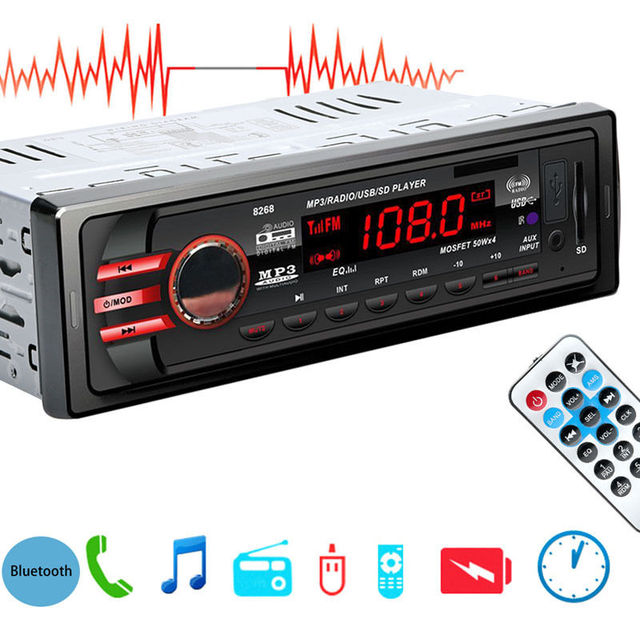DC 12V Car SD USB 1 DIN Bluetooth Audio Receiver In-Dash FM Aux MP3 Stereo Radio