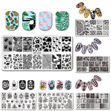 BORN PRETTY Rectangle Stamp Plate Fruit Flower Animal Pattern Nail Art Tmeplate Manicure Nail Stamping Image Plate DIY Nail Tool