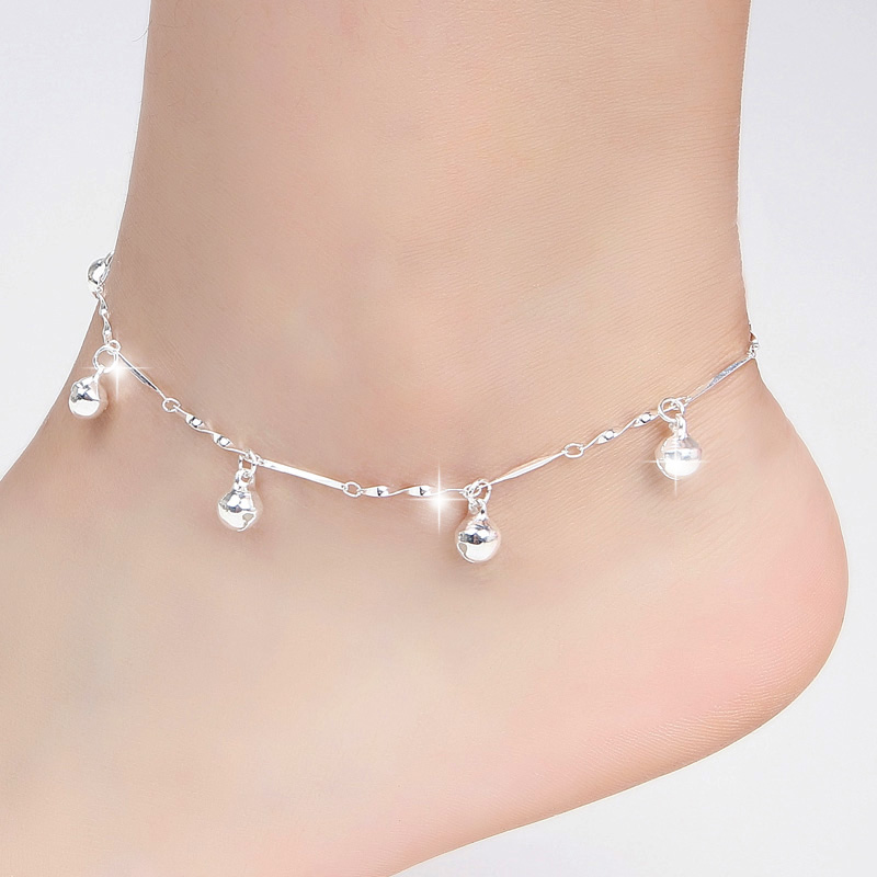 bracelets more yellow image for singapore silver pin inches details ankle real anklet gold click