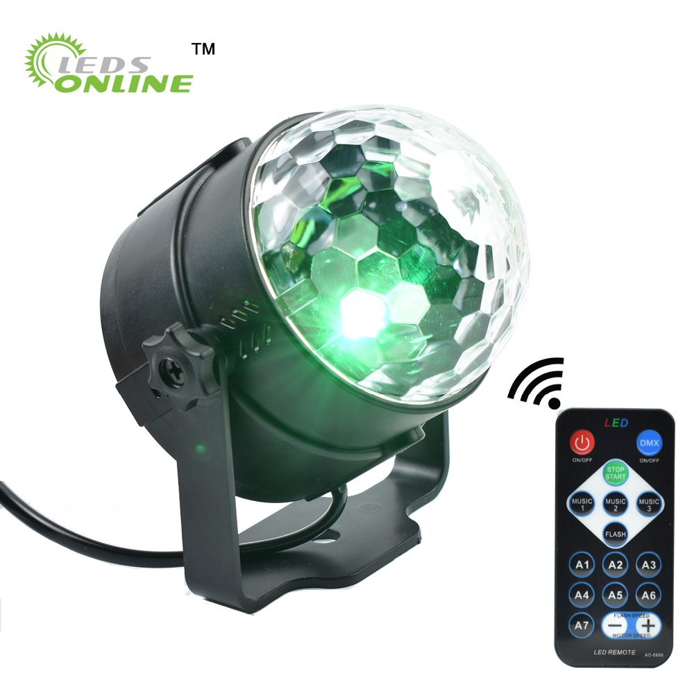 LEDSONLIN Party Disco DJ Light Holiday Projector EU/US LED RGB Crystal Mini Magic Ball Stage Effect Lights with Remote Control 3w rgb led projector dj light disco ball led par crystal magic ball bar party xmas effect stage lights free shipping