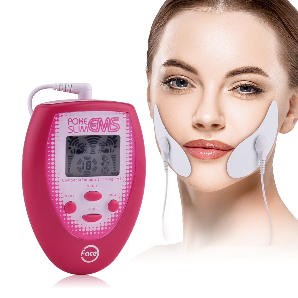 EMS Face Silmming Massager V-Face Tens Electric Muscle Stimulator With 2pcs Electrode Face Masks +2 Cheek Sticker Skin Care Tool