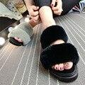 2017 Новые Сандалии Женщин Реального Кролика Меховые Тапочки Платформа Весна летняя Обувь Женщина Скольжения На Слайды Плоские Женская Обувь Черный розовый