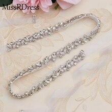 MissRDress стразы, свадебный пояс, пояс с серебряными бриллиантами и кристаллами для свадебного платья, свадебное украшение JK863