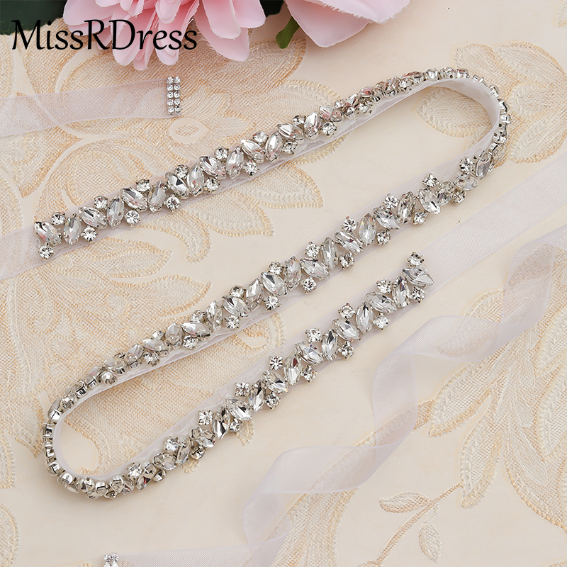 Missrdress Sash Wedding-Belt Rhinestones Crystal Diamond Silver for JK863