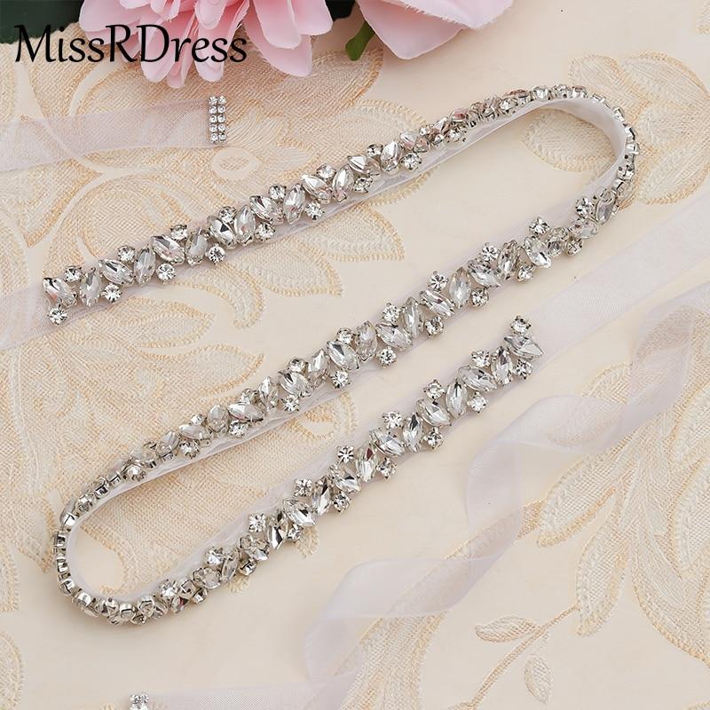 MissRDress Rhinestones Wedding Belt Sash Silver Diamond Crystal Bridal Belt For Wedding Gown Wedding Decoration JK863