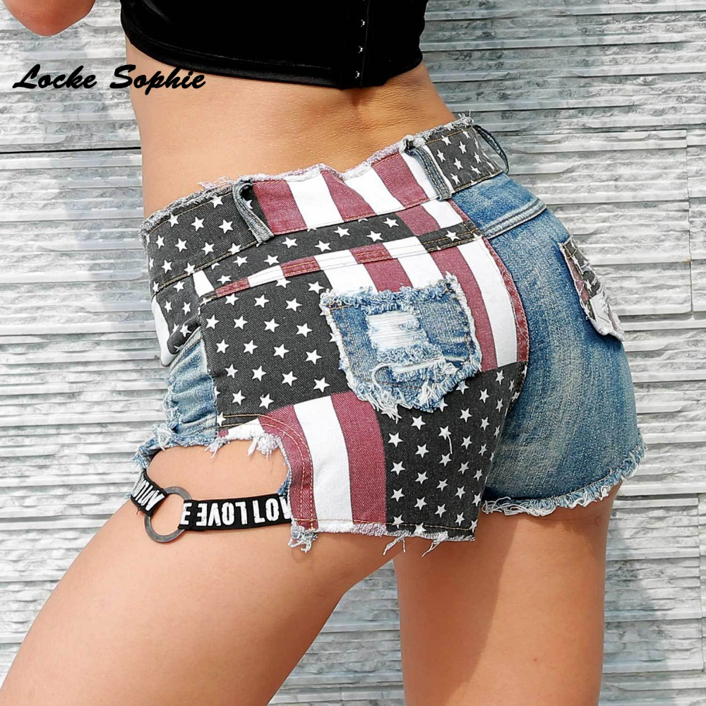 High Waist Sexy Women's Jeans Denim Shorts 2019 Summer Denim National Flag Prints Hole Ladies Skinny Cotton Super Short Jeans