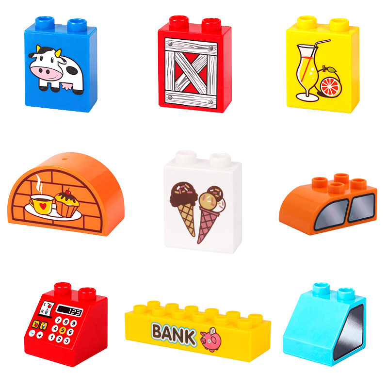Lovely Cartoon Pattern Basic Bricks Big Building Blocks Accessory DIY Creative Child Toys Gift  Compatible With Duplo Scenes Set