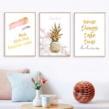 Gold Wall Art Abstract Pink Nordic Canvas Painting Quotes Painting Canvas Print Pictures Pineapple Paintings Wall Decor Unframed field rock print unframed canvas wall art paintings