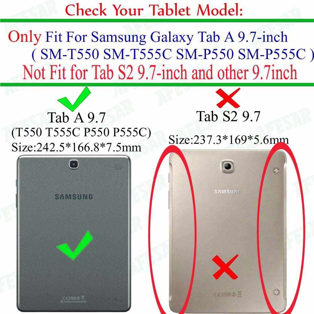 360 Bằng Rotating PU Da trường hợp đối Với Samsung Galaxy Tab MỘT 9.7 SM T550 P550 P555 T555C Máy Tính Bảng Tự Động thức dậy /ngủ Bìa + phim + Bút