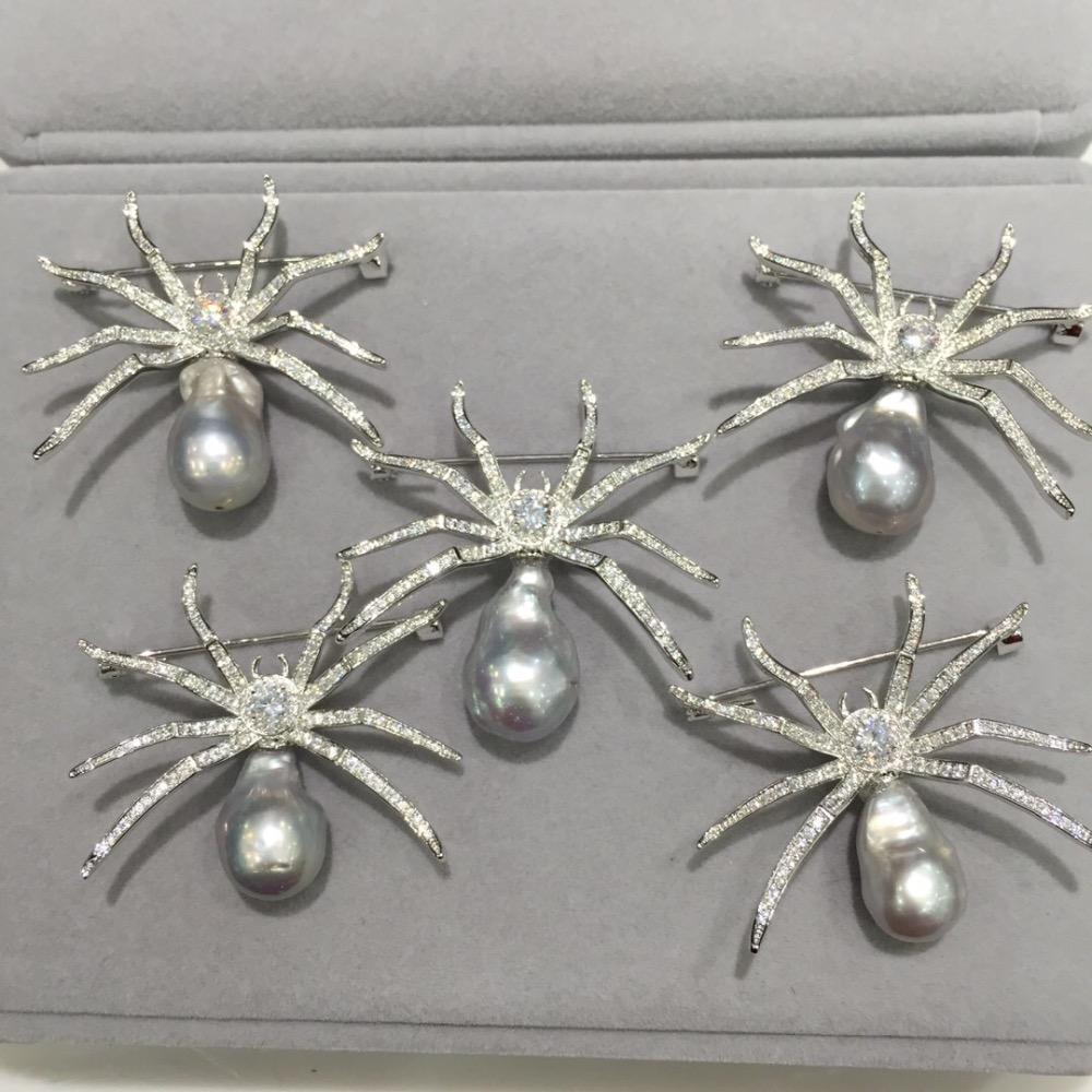 Baroque Natural fresh water pearl brooch pins spider brooch copper with cubic zircon fashion women jewelry grey color baroque natural fresh water pearl brooch pins copper with cubic zircon maple leaf brooch pins office career fashion women jewel