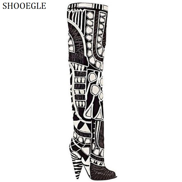 SHOOEGLE Botas Mujer Patent Leather Thigh High Boots Patchwork Spike Heels Over-The-Knee Boots Rome Style Women Motorcycle Boots