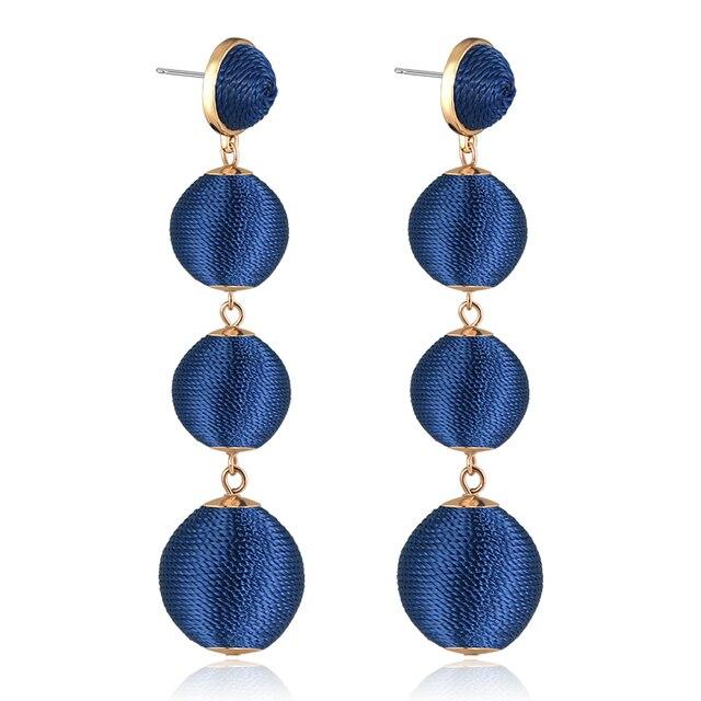 2017 New Triple Thread Ball Earrings Bon Danging Hanging Women Jewelry Statement Long Drop