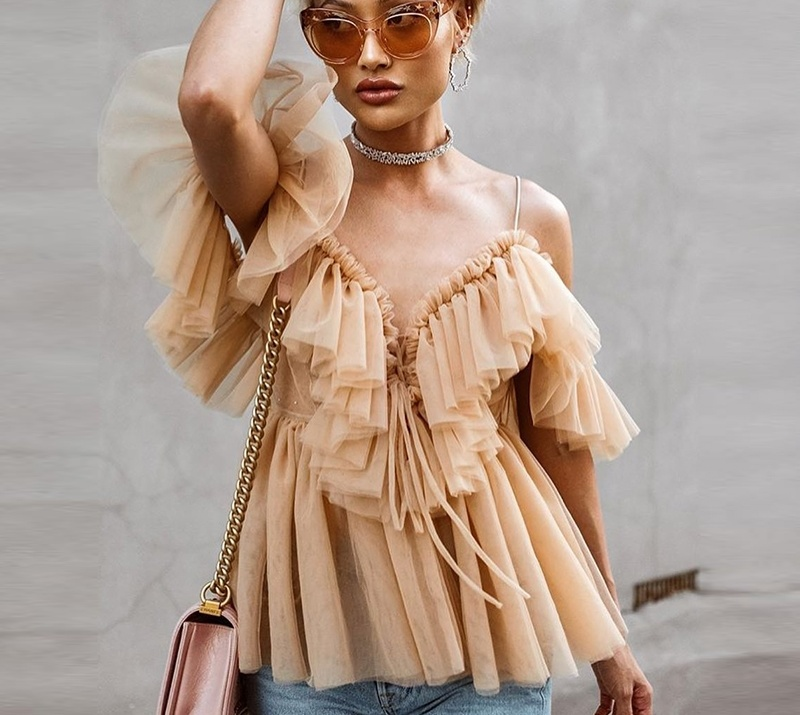 2019 Sexy v neck off shoulder peplum   blouse   top Women Pleated vintage ruffle mesh   blouse     shirt   Casual summer sleeveless top