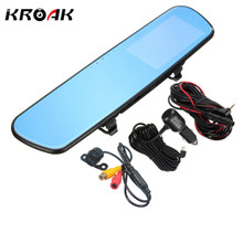 """Cheapest prices 4.3"""" Full HD 1080P Car Dvrs Rear View Mirror With Dual Lens Camera Night Vision Dash Cam dvr Digital Video Recorder"""