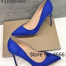 2019 Fashion Navy blue suede leather pumps Poined Toe Stiletto high heel Bride  shoes pump high 690110568b35