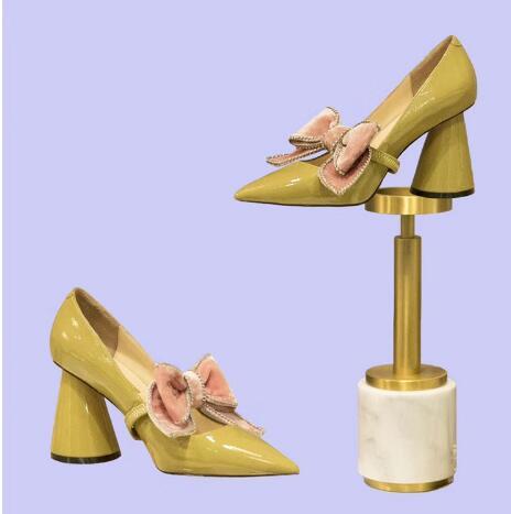 Las negro Bombas Tacón Cuadrado Black Puntiaguda Mariposa Moda Mujeres Caliente Slip De on Zapatos Cuero Sexy Amarillo Punta yellow Nudo Genuino ITfUSq