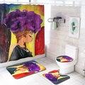 Новый Африканский американский женский коврик для ванной и душевая занавеска в комплекте 4 шт. коврик для ванной комнаты крышка Коврик для в...