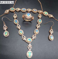 ZHHIRY Natural Fire Opal Jewelry Set Genuine 925 Sterling Silver Semi Precious Stone Fine Jewelry Royal Sets Birthstone