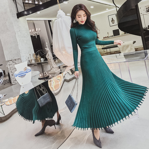 2019 Autumn Winter High Quality Long Knitted Dress Women Black Fashion Stand Collar Slim Thicken Warm Sweater Pleated Dress 79