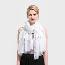 Winfox New Fashionable White Grey Pink Foil Sliver Bird Printed  Glitter Fringe Scarf Foulard Shawls Womens Ladies