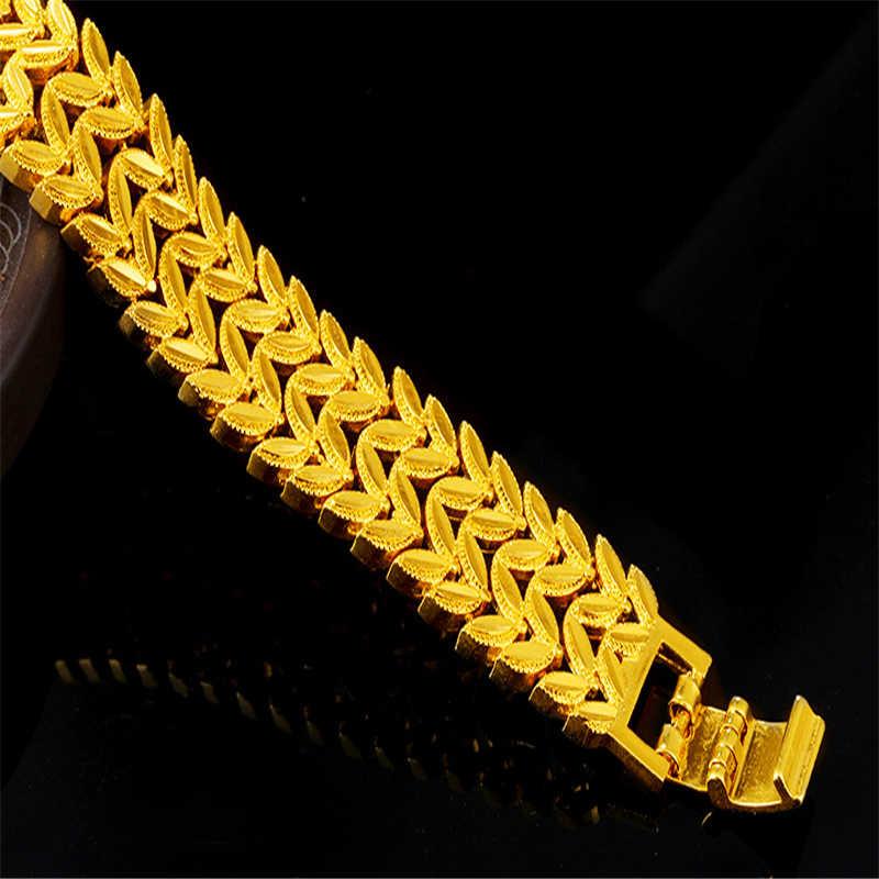 Liffly, Модный золотой браслет 24 к для женщин, ювелирное изделие, очаровательный Свадебный, Юбилейный, вечерние, хорошее ювелирное изделие, большие браслеты, подарок