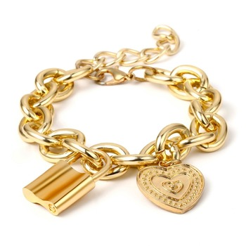 Ingemark Punk Lover's Lock Pendant Bracelets Bangles Fashion Alloy Carved Lover Heart Thick Chain Bracelet Couple Jewelry 2019 3