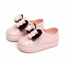 Melissa No Shoelace Mickey Minnie Bow For Mini Kids Sports Shoes 2019 Spring Wave Point Flat Slip-on Girl Sandal
