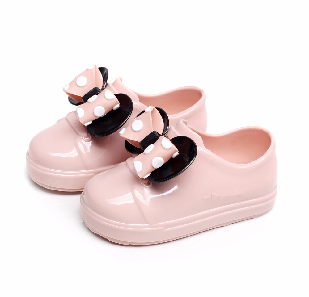 MiniMelissa No Shoelace Mickey Minnie Bow For Mini Kids Sports Shoes 2019 Melissa Spring Wave Point Bow Flat Slip-on Girl Sandal