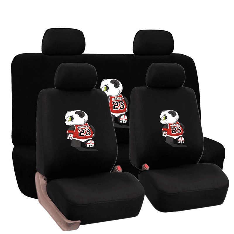 Всесезонная подушка для сиденья с изображением панды, футбольного матча, чехол для сиденья автомобиля, универсальный чехол для большинства автомобильных сидений, аксессуары для интерьера, черный цвет, спереди и сзади