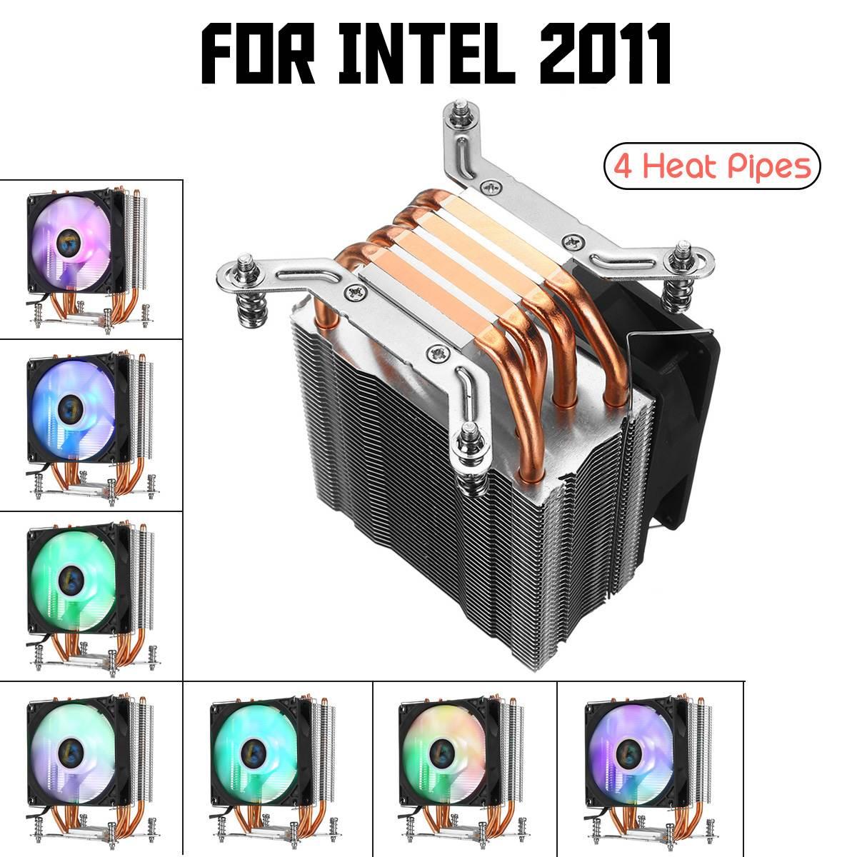 CPU Cooler Fan 4 Heatpipes de Cobre para Aurora 90mm com RGB Luz Ventilador de Refrigeração para Intel LGA 2011 CPU cooler Dissipador de Calor Do Radiador