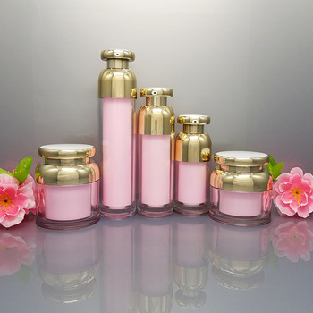 10pcs Acrylic Cream Jar Cosmetic Container Bottle Jar Face Cream Bottle Jar Acrylic Lotion Pump Bottle Pink Color Gold Cap