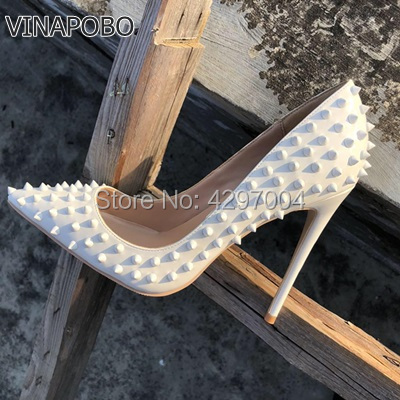 VINAPOBO Pointed Toe Thin High Heels Sexy White Rivets Spike Women Party Shoes Classical Fashion Studs Lady Party Wedding Shoes