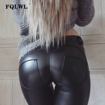 FQLWL Faux Pu Leather Leggings Thick/Black/Push Up/High Waist Leggings Women Plus Size Winter Legging Sexy Pants Women Leggins 1