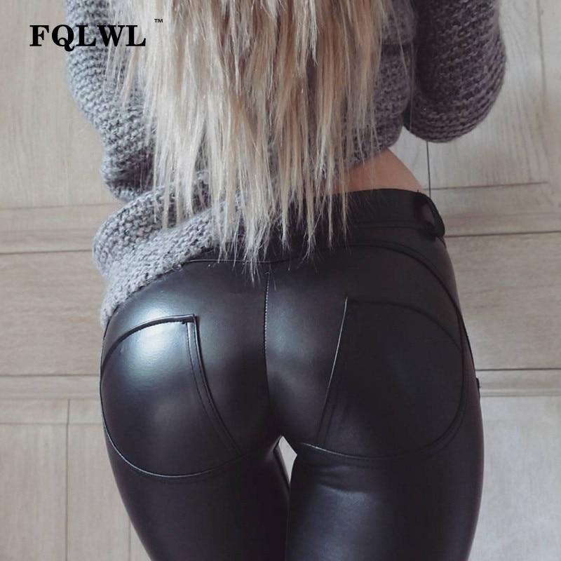 FQLWL Pu imitación de cuero polainas gruesas/Negro/Push/Leggings cintura alta Mujer Plus tamaño de invierno Legging sexy Mujer Pantalones Leggins