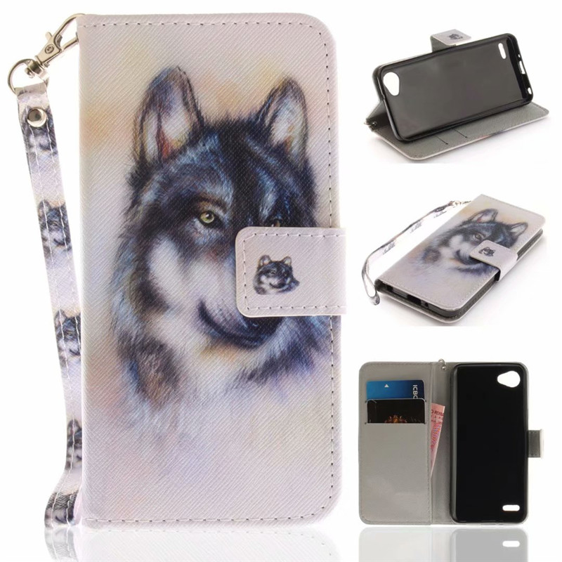Flip Wallet Case For LG Q6/G6 Mini Cases Coque Animal Wolf Owl Tiger Lion Painted PU Leather Phone bags accessories Cover