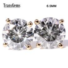 TransGems 2 CTW Moissanite Lab Diamond Stud Earrings Push Back in Solid 18K Yellow Gold for Women